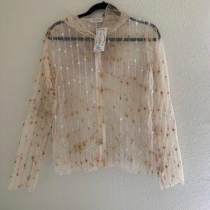Vine Street | NWT Cream and white zip up jacket